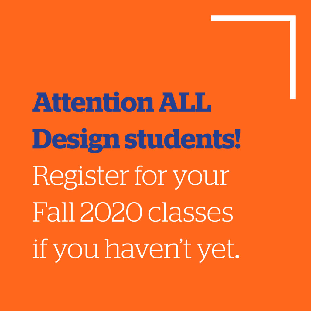 Announcement for Fall 2020 registration